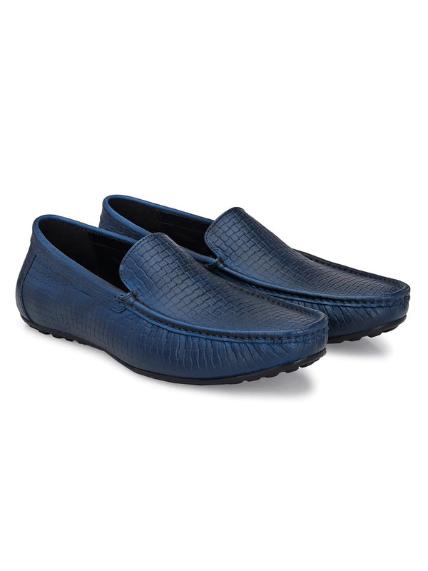 Azure Blue Textured Loafers
