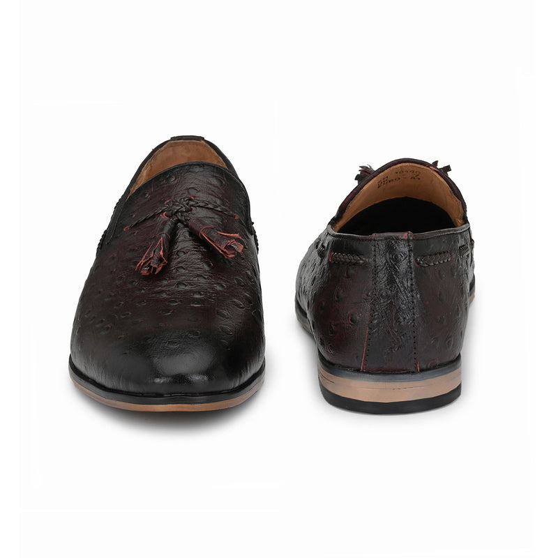 Cherry 0strich Textured Loafers