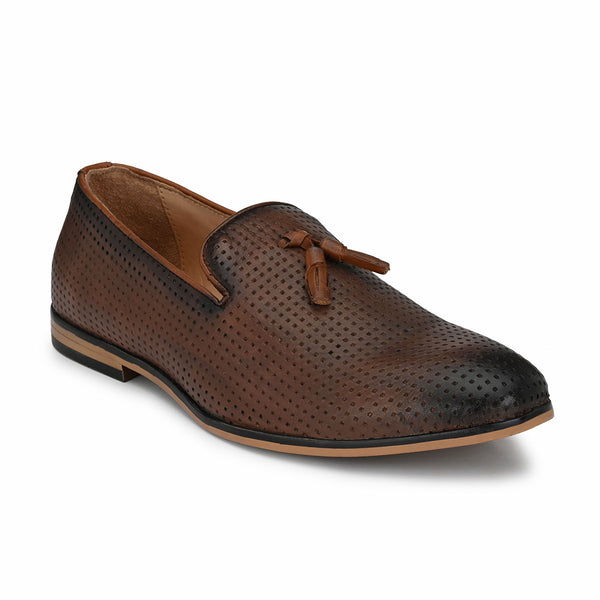 Pierced Tan Tassel Loafers
