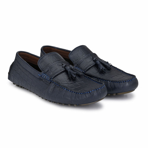 Blue Textured Leather Loafers