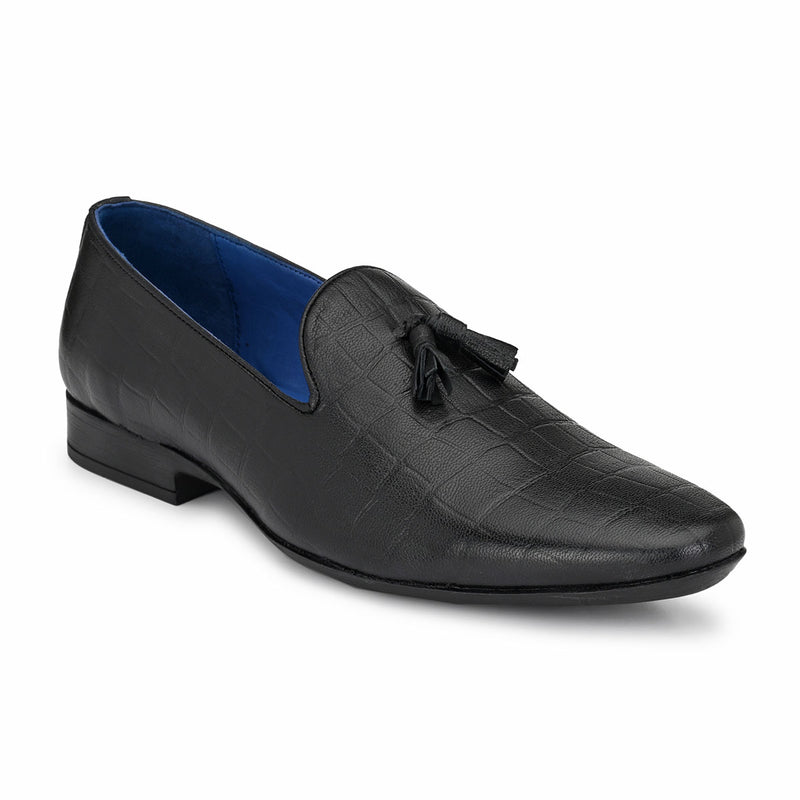 Black Textured Tassel Loafers