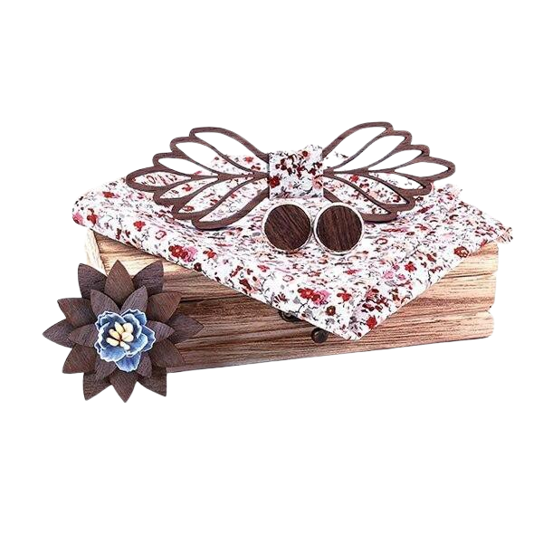 Flowered Wooden Bow Tie Set
