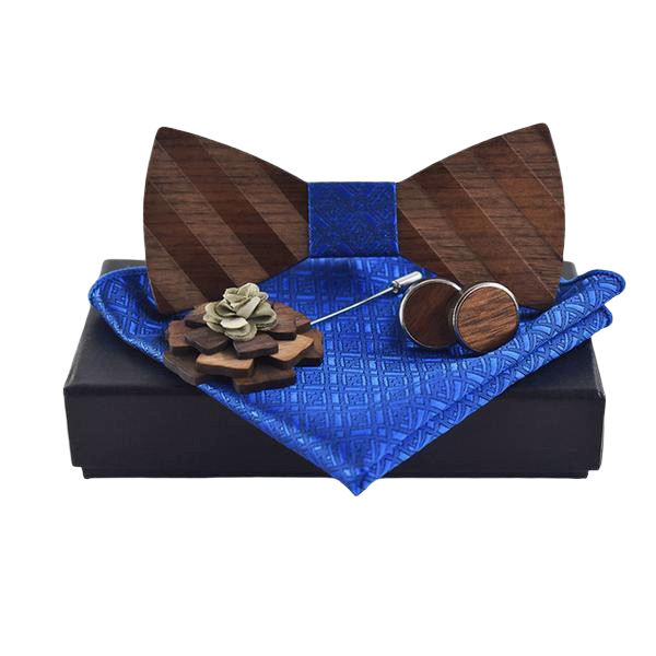 Wooden Bow Tie Suit Pocket Square