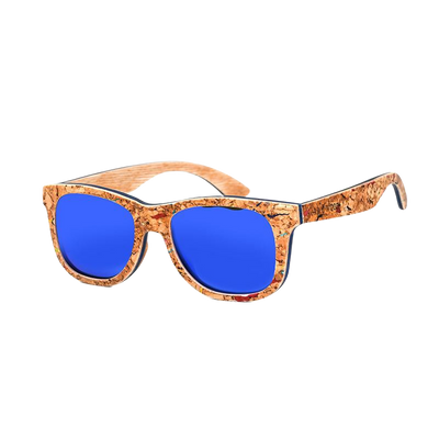 Blue Lenses Wooden Sunglasses