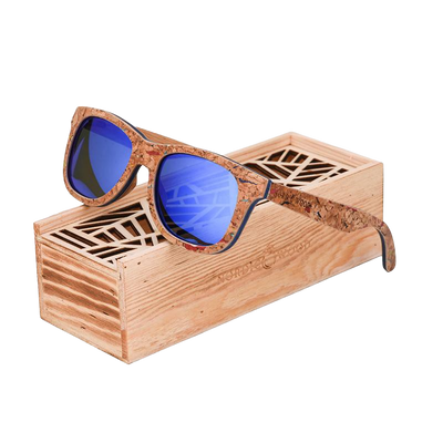 Wooden sunglasses with blue lenses