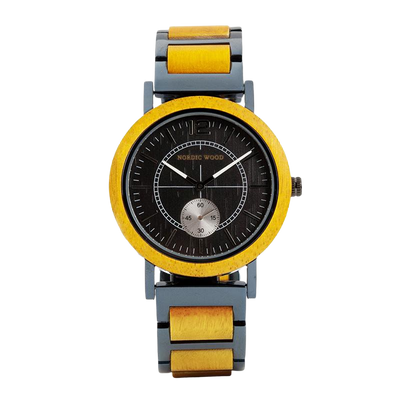 Yellow Wooden watch & Steel