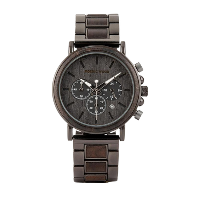 Wooden Watch with Steel