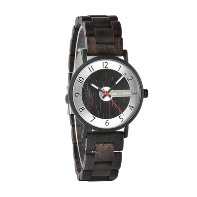 Black Wristband Wooden Watch
