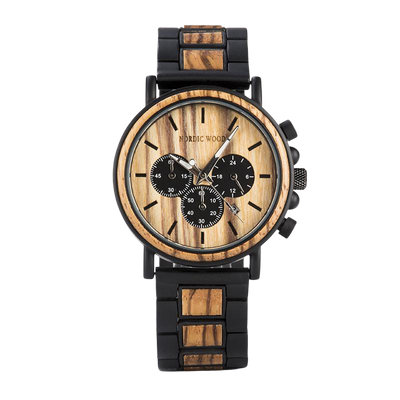 Watch with Wood and Steel Band