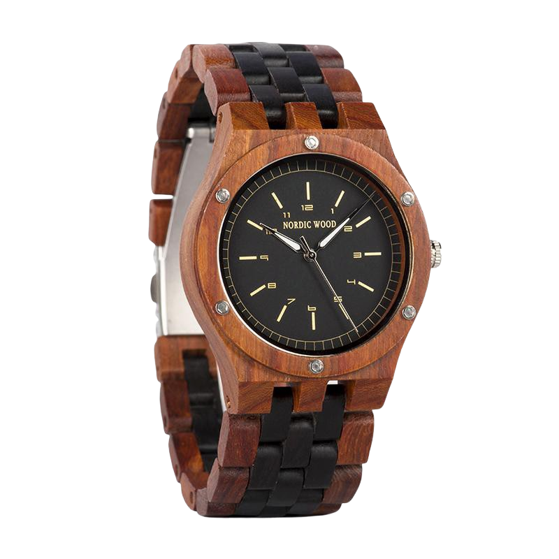 Black & Red Wooden Watch