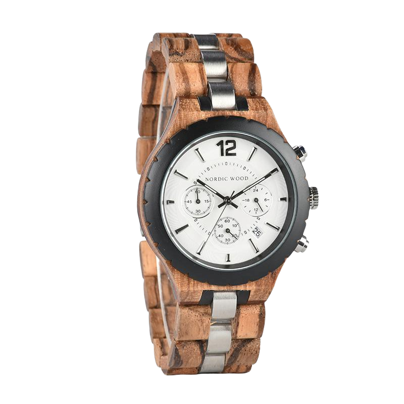 White Dial Wooden Watch