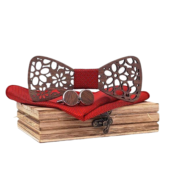 Wooden Bow Tie Red Fabric