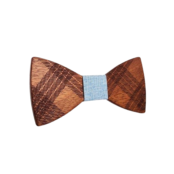 Light Blue Wooden Bow Tie