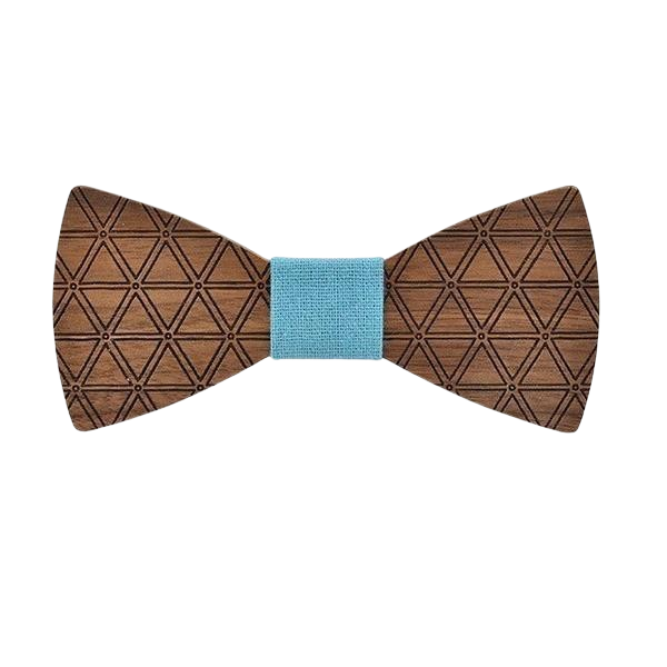 sky blue wooden Bow Tie