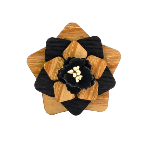 Wooden Suit Brooch
