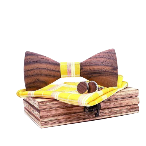 Yellow Wooden Bow Tie