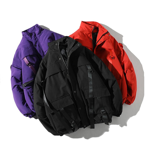 Men's Casual Windbreaker Jackets Plus size Hip-Hop Bandage