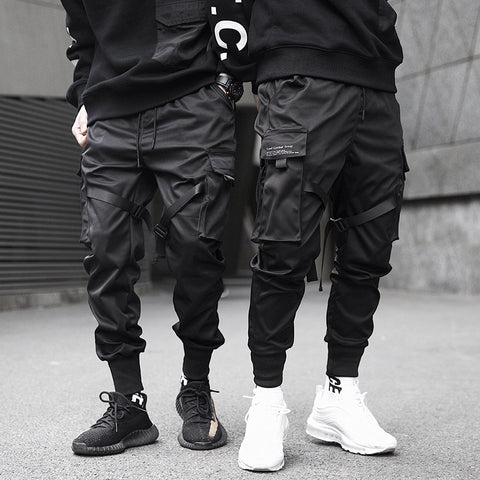 Men's Multi-pocket Elastic Waist Design Pants Hip-Hop Style