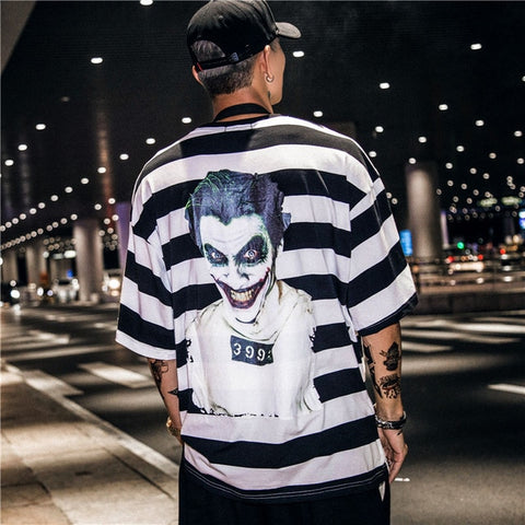 Men's Clown Print Striped T-Shirt Hip-Hop Style