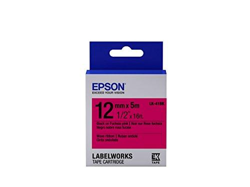 "Epson Labelworks Wave Ribbon Lk (Replaces Lc) Tape Cartridge ~1/2"" Black On Fuchsia Pink (Lk-41Bk) - For Use With Labelwor"