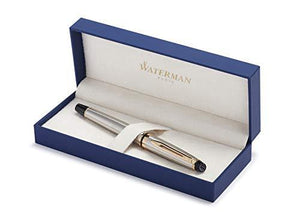 Waterman Expert Stainless Steel with Golden Trim, Fountain Pen with Medium nib and Blue ink (S0951960)