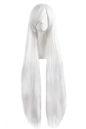 "MapofBeauty 40"" 100cm White Long Straight Cosplay Costume Wig Fashion Party Wig"