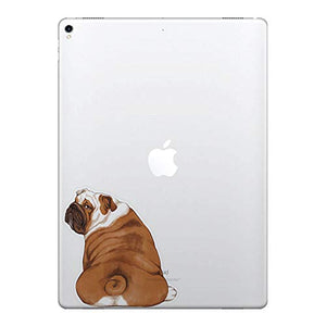 FINCIBO 5 x 5 inch English Bulldog Look Back Removable Vinyl Decal Stickers for iPad MacBook Laptop (Or Any Flat Surface)