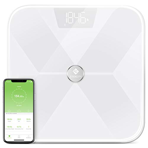 Etekcity Smart Bluetooth Body Fat Scale, Digital Weight Bathroom Scale with 13 Essential Measurements and ITO Conductive Glass, Upgraded Version