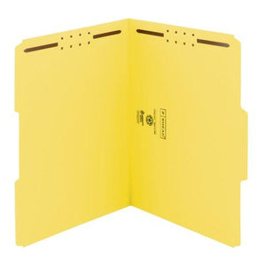 Smead 100% Recycled Fastener File Folder, 2 Fasteners, Reinforced 1/3-Cut Tab, Letter Size, Yellow, 50 Per Box (12941)
