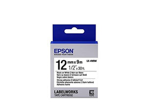"Epson Labelworks Strong Adhesive Lk (Replaces Lc) Tape Cartridge ~1/2"" Black On White (Lk-4Wbw)"