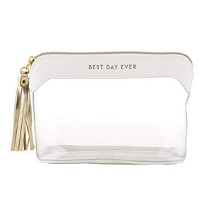 "Creative Brands Wedding Travel Pouch, 8"" X 5"", Best Day Ever Pearl White And Clear"