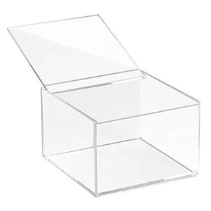 "Interdesign Clarity Cosmetic Organizer With Lid For Vanity Cabinet - Medium, 4"" Tall, Clear"