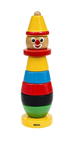 BRIO Infant & Toddler 30120 - Stacking Clown - 9 Piece Wood Stacking Toy for Kids Ages 1 and Up