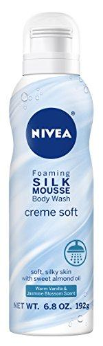 Nivea Creme Soft Foaming Silk Mousse Body Wash, Vanilla And Jasmine Blossom, 6.8 Ounce