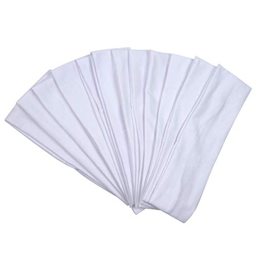Headbands Hairband Cotton Soft and Stretchy Elastic Solid Color 12 Pcs Per Lot (White)