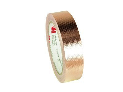 "3M 1245 EMI Embossed Copper Shielding Foil Adhesive Tape, 4 mil Thick, 18 yds Length x 1"" Width"