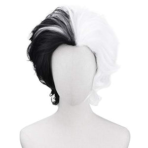 YOGFIT Women's Cruel Lady Wavy Short Black and White Wig Synthetic Chin-Length Cosplay Wig for Halloween Costume Party Anime Wig