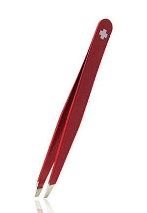 Rubis hair tweezers - slanted - red with Swiss cross