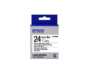 "Epson Labelworks Matte Paper Lk (Replaces Lc) Tape Cartridge ~1"" Black On White (Lk-6Wbb) - For Use With Labelwork Lw-600P"