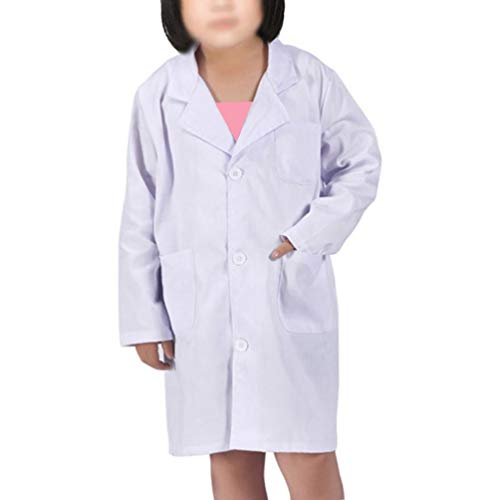 Kids Lab Coat for Kid Scientists Or Doctors Role Play Costume Dress-up Set (Small, White)