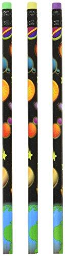 "Rhode Island Novelty 12 - Outer Space Pencils - 7.5"" L - Eraser Top"