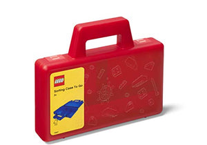 Room Copenhagen, Lego Sorting Box to-Go - Travel Case with Organizing Dividers - Red