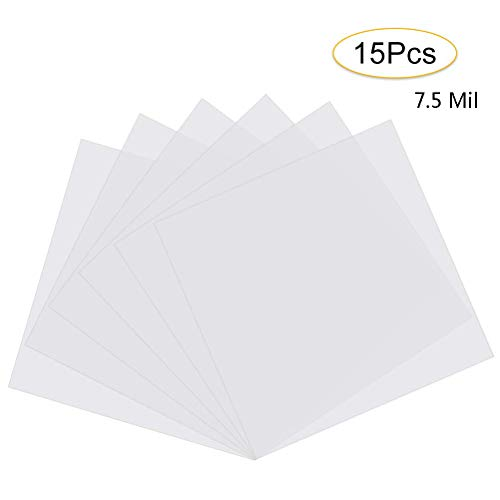 15Pcs 7.5 Mil Blank Stencil Sheets, QIUYE Square Blank PET Templates for Making Your Own Stencils, Milky White Translucent (12 x 12 inch)