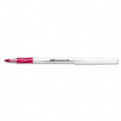 Bic : Round Stic Grip Ball Pen, Red Ink, Fine Point -:- Sold As 2 Packs Of - 12 - / - Total Of 24 Each
