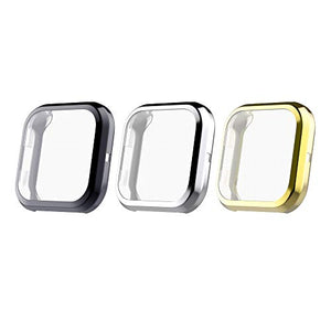 MoKo 3-Pack All-Around Protector Case Compatible with Fitbit Versa 2, Full Body Cover Bumper Protective Frame Case with TPU Screen Protector Ultra-Thin Cover - Silver & Black & Gold