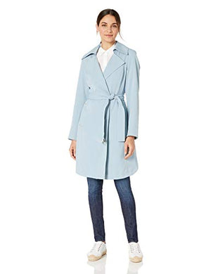 VINCE CAMUTO Women's Belted Trench Coat Rain Jacket, Dusty Blue XL