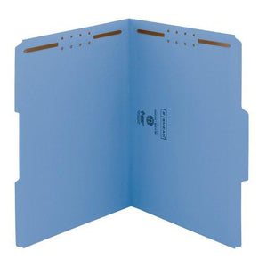 Smead 100% Recycled Fastener File Folder, 2 Fasteners, Reinforced 1/3-Cut Tab, Letter Size, Blue, 50 Per Box (12041)