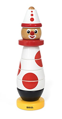 Brio Infant & Toddler 30230 - Stacking Clown - 60th Anniversary Edition - 9 Piece Wood Stacking Toy for Kids Ages 1 and Up