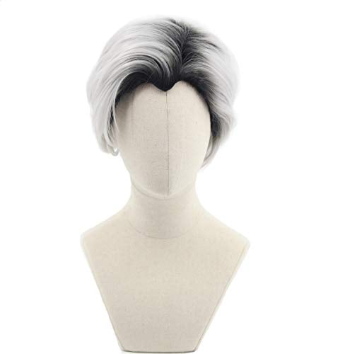 Man's Short Curly Silver Grey Boot Black Cosplay Wig Halloween Costume Wig