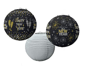 """Happy New Year"" Round Lanterns For Party Decoration, 3 Ct."